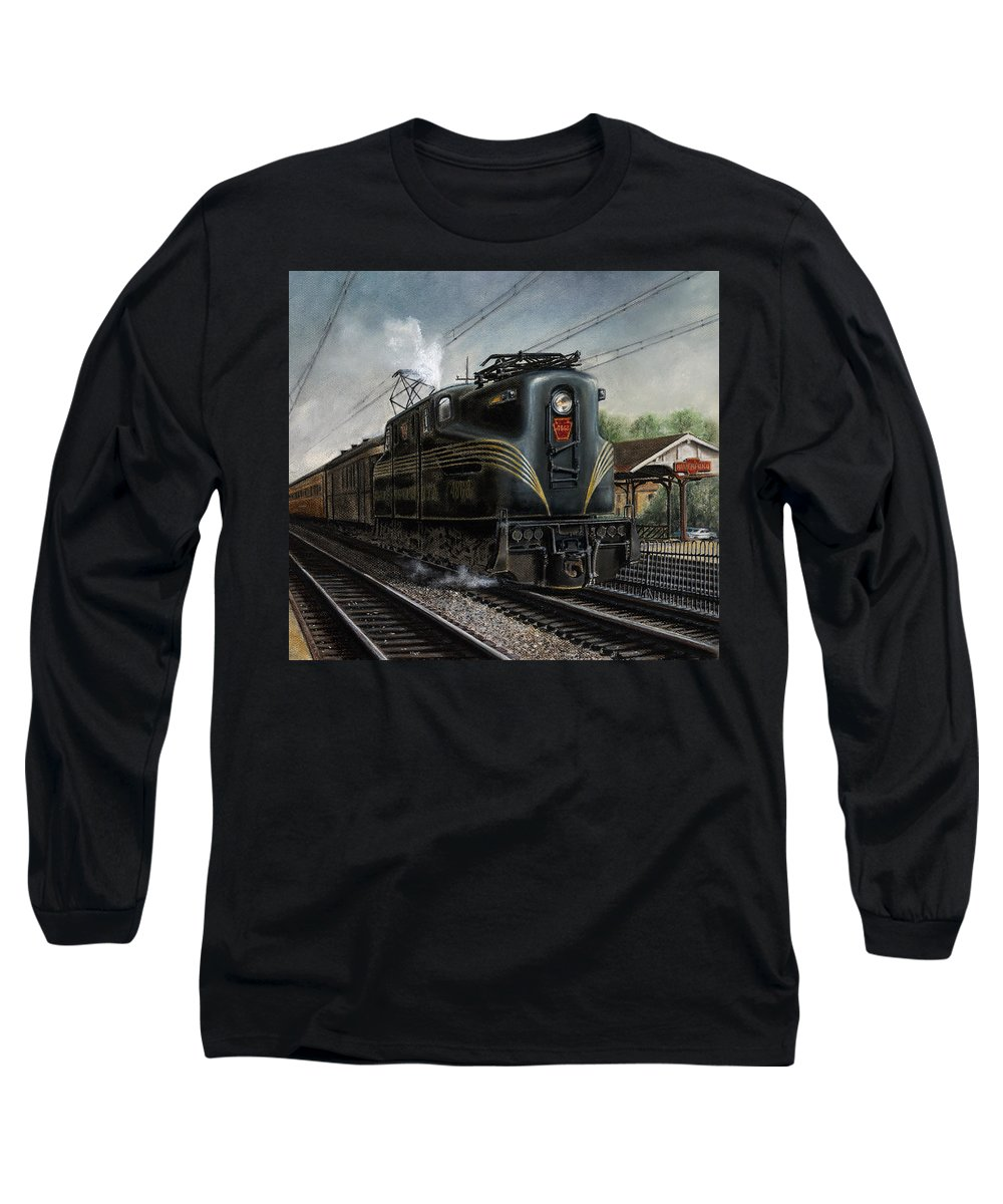 Trains Long Sleeve T-Shirt featuring the painting Mainline Memories by David Mittner