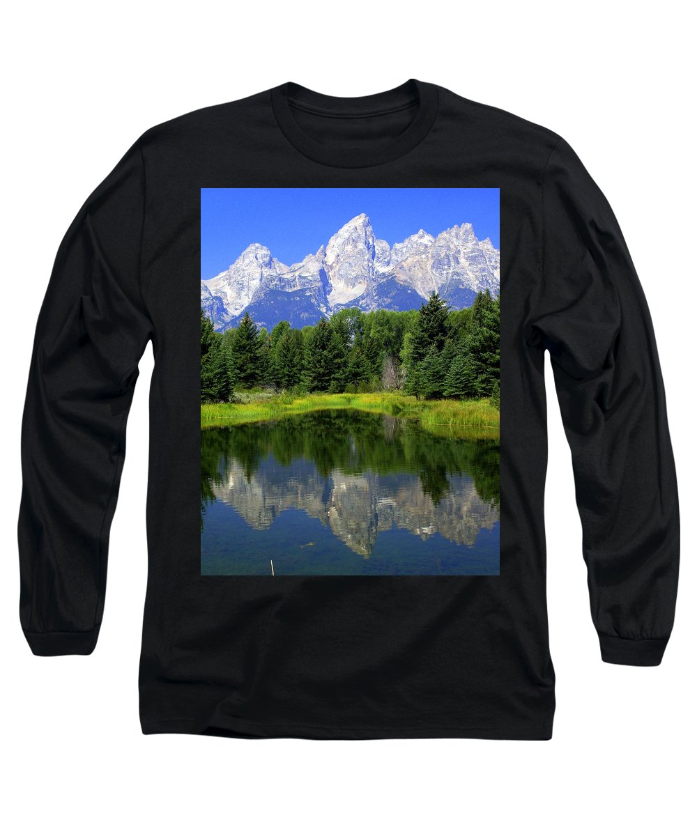 Grand Teton National Park Long Sleeve T-Shirt featuring the photograph Majestic Tetons by Marty Koch