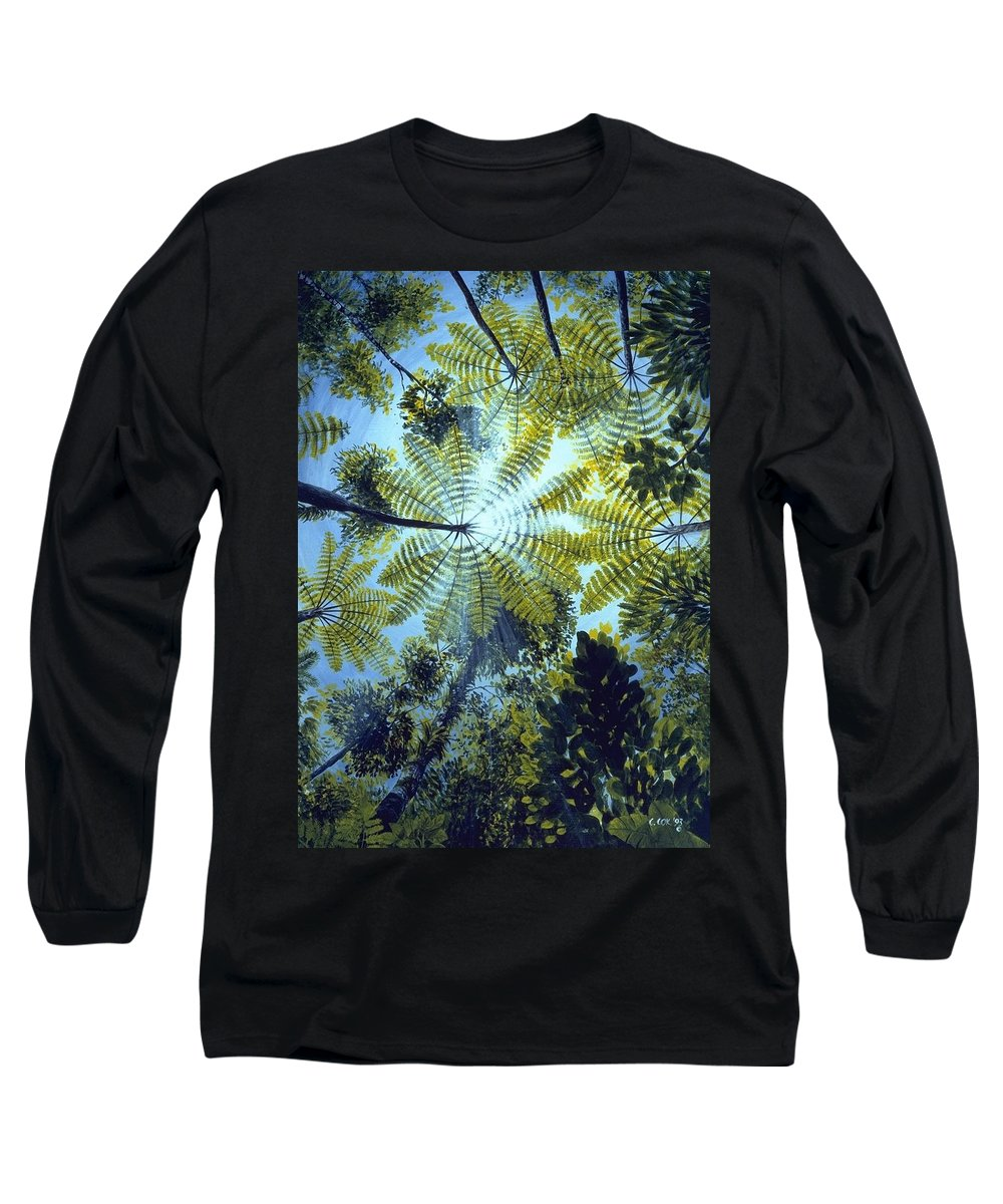 Chris Cox Long Sleeve T-Shirt featuring the painting Majestic Treeferns by Christopher Cox