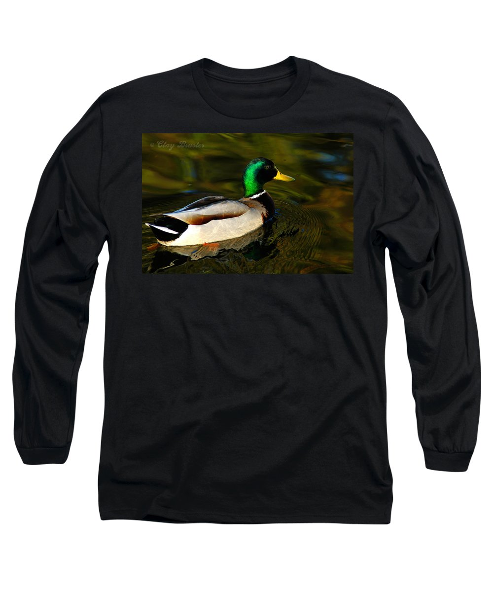 Clay Long Sleeve T-Shirt featuring the photograph Mallard Green by Clayton Bruster