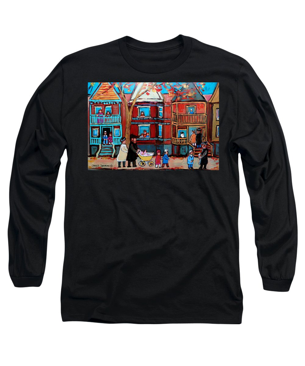 Hassidic Community Long Sleeve T-Shirt featuring the painting Mama Papa And New Baby by Carole Spandau