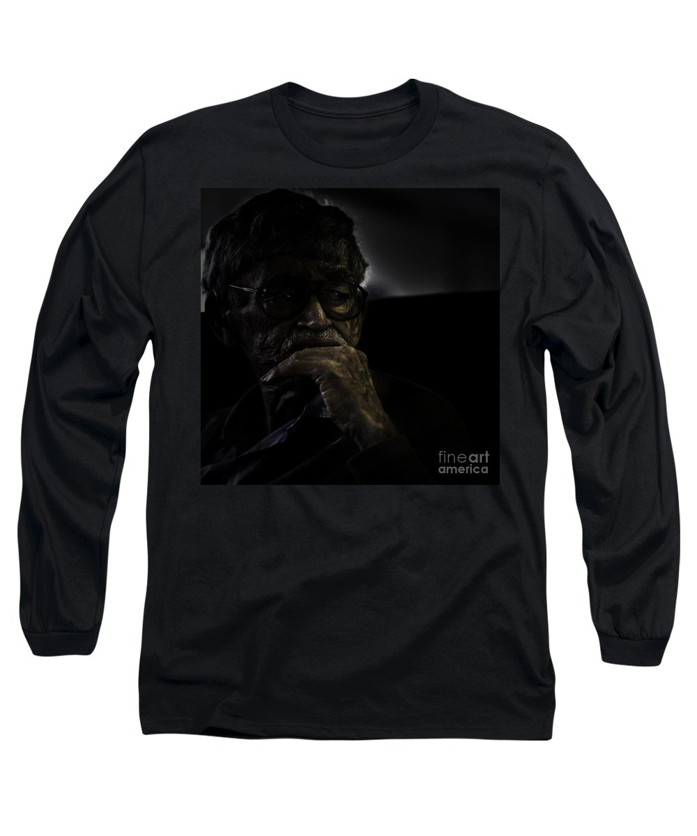 Portrait Long Sleeve T-Shirt featuring the photograph Man On Ferry by Sheila Smart Fine Art Photography