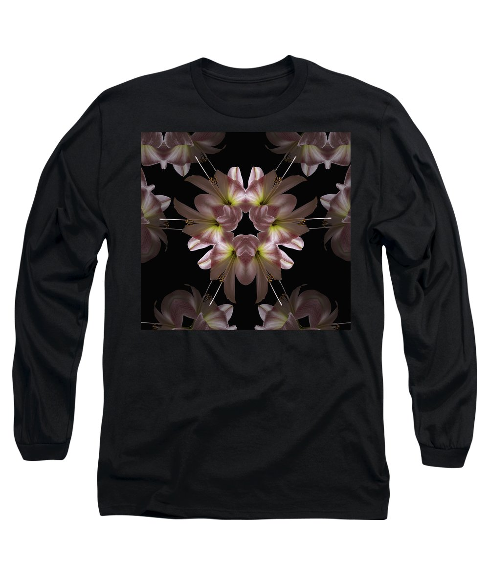 Mandala Long Sleeve T-Shirt featuring the digital art Mandala Amarylis by Nancy Griswold