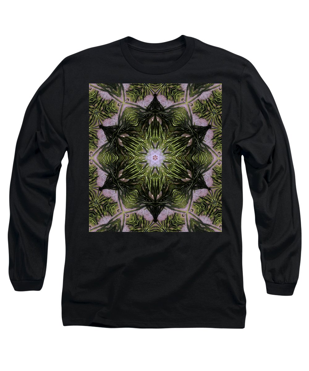 Mandala Long Sleeve T-Shirt featuring the digital art Mandala Sea Sponge by Nancy Griswold