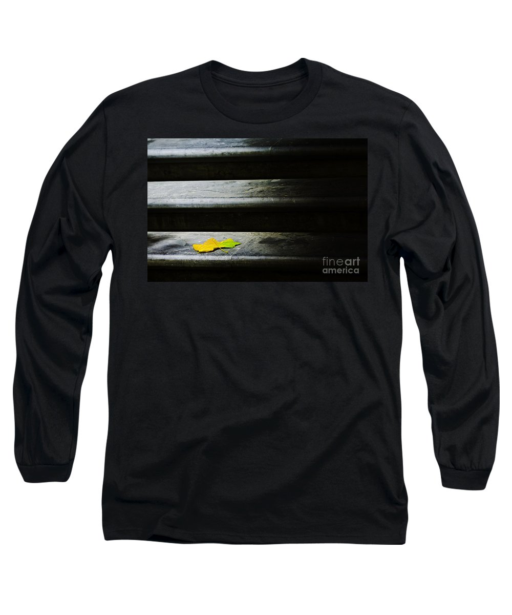 Maple Leaf Long Sleeve T-Shirt featuring the photograph Maple Leaf On Step by Avalon Fine Art Photography