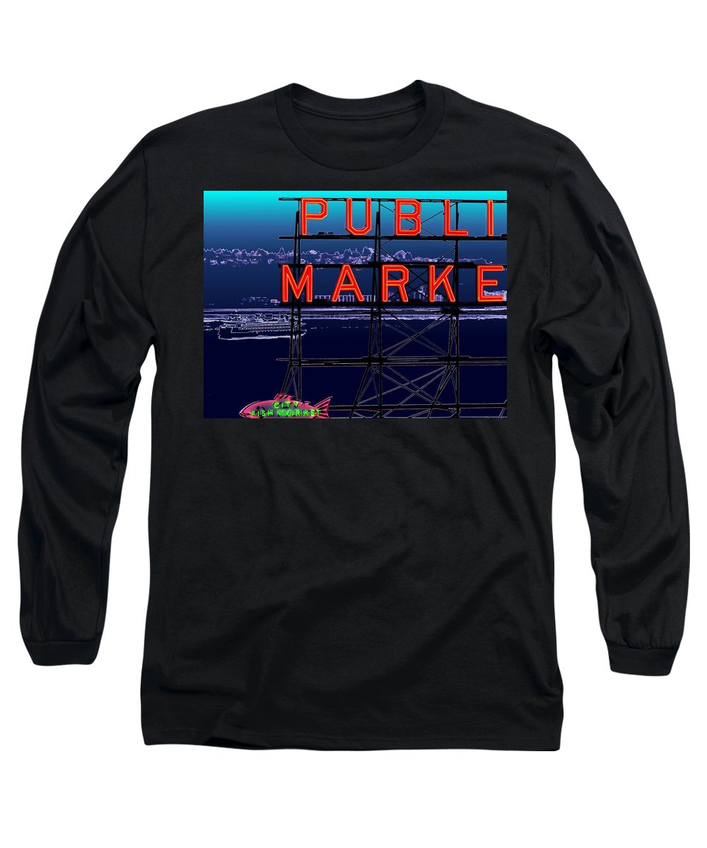 Seattle Long Sleeve T-Shirt featuring the digital art Market Ferry by Tim Allen
