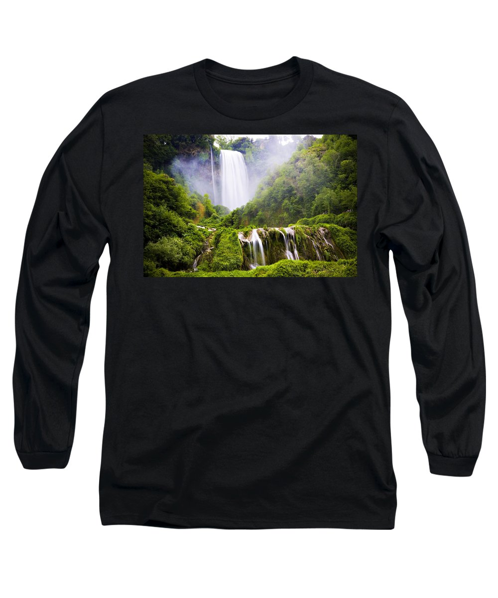 Italy Long Sleeve T-Shirt featuring the photograph Marmore Waterfalls Italy by Marilyn Hunt