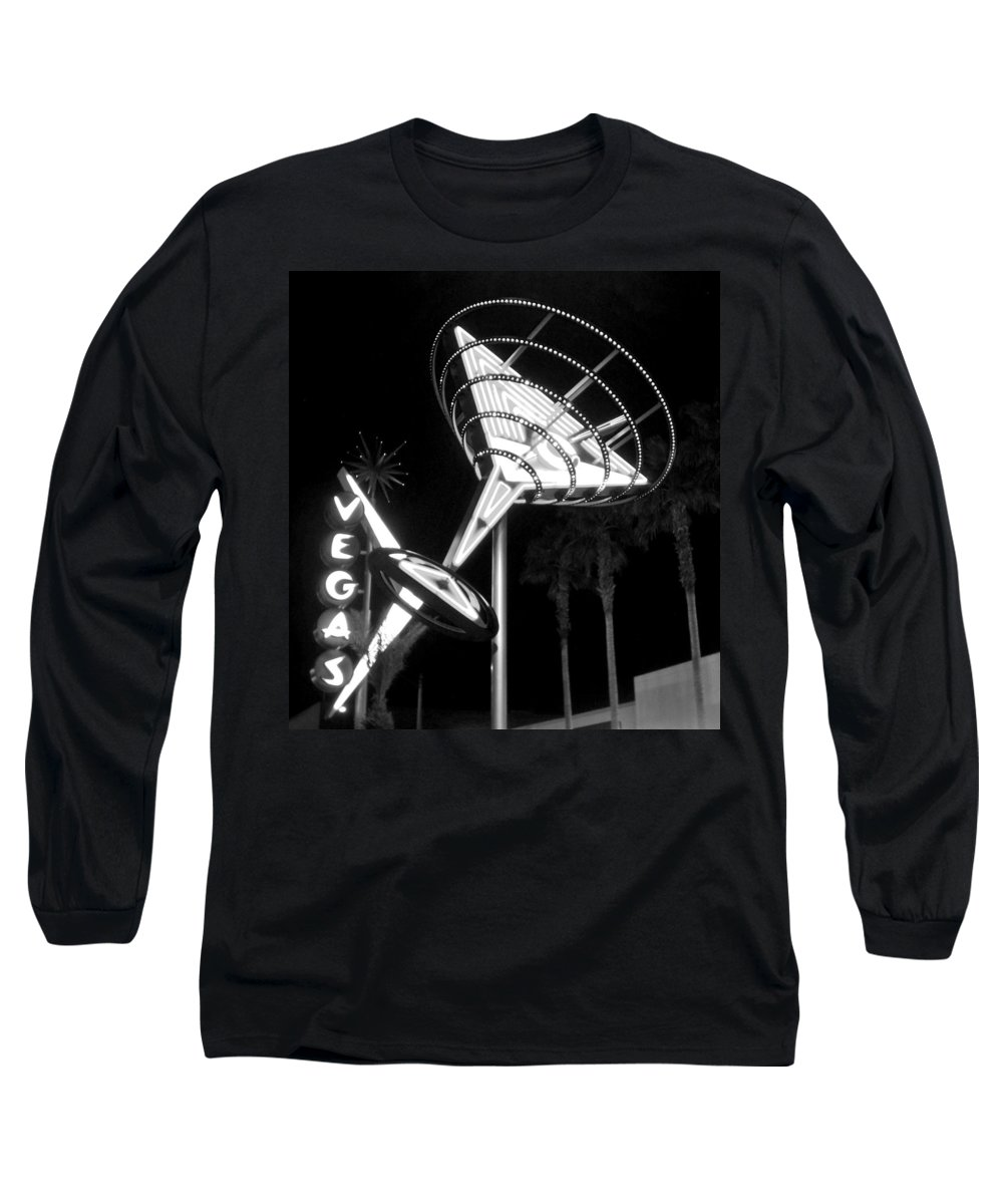 Martini Long Sleeve T-Shirt featuring the photograph Martini Sign In Vegas B-w by Anita Burgermeister