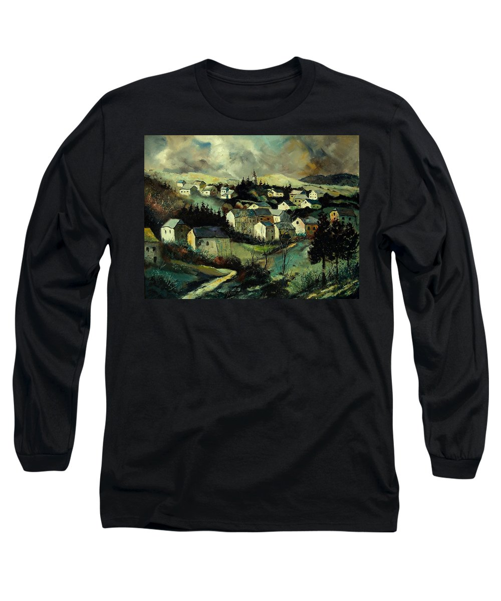 Winter Long Sleeve T-Shirt featuring the painting Masbourg by Pol Ledent