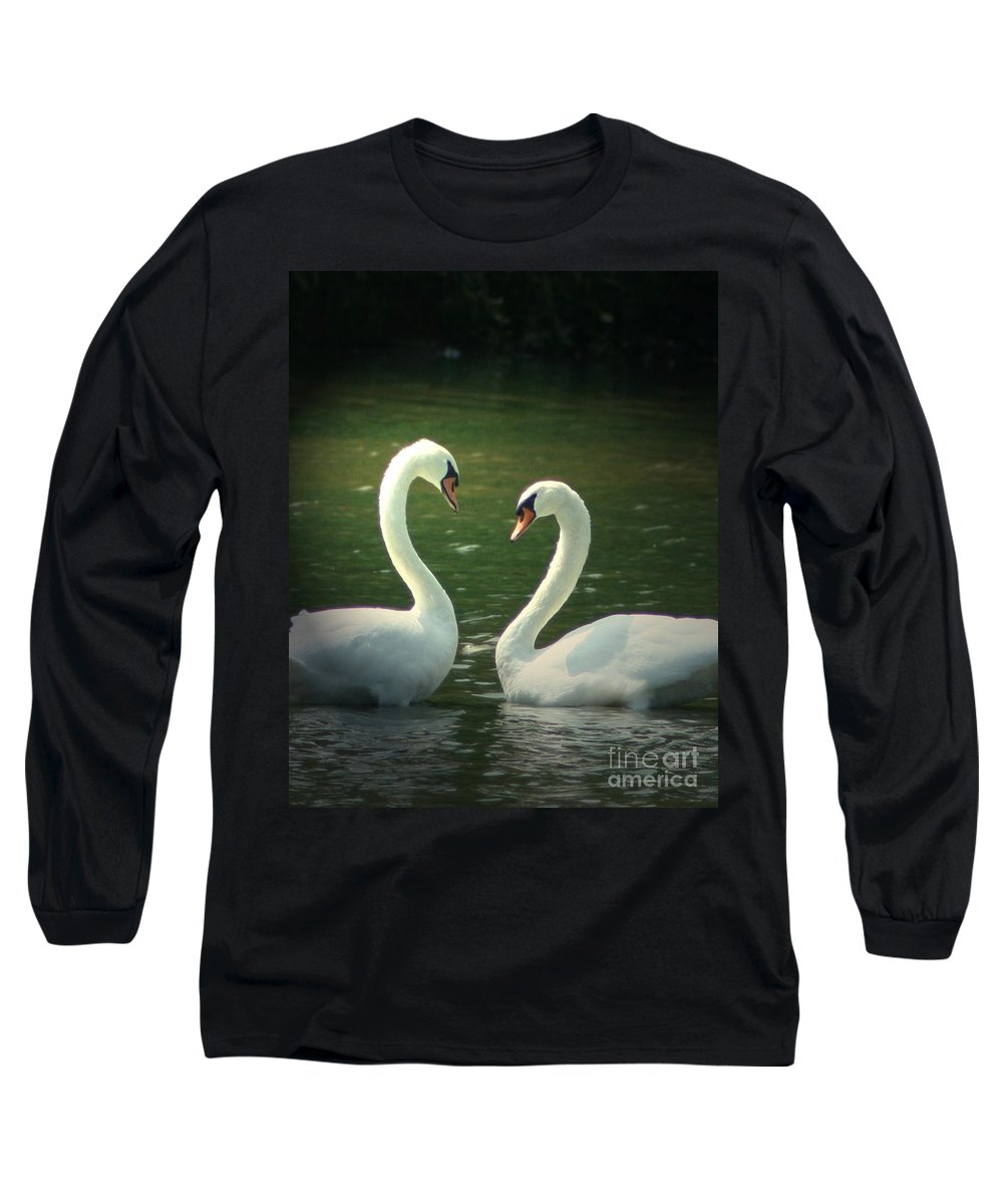 Nature Wildlife Ohio Waterscape Landscape Swans Lake Pond Long Sleeve T-Shirt featuring the photograph Mates For Life by Dawn Downour