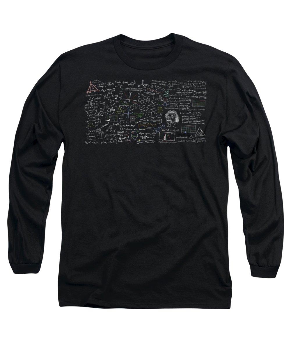 Algebra Long Sleeve T-Shirt featuring the digital art Maths Formula by Setsiri Silapasuwanchai