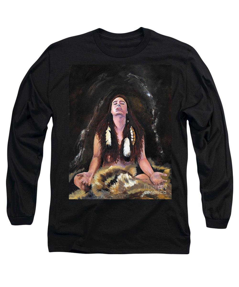 Southwest Art Long Sleeve T-Shirt featuring the painting Medicine Woman by J W Baker
