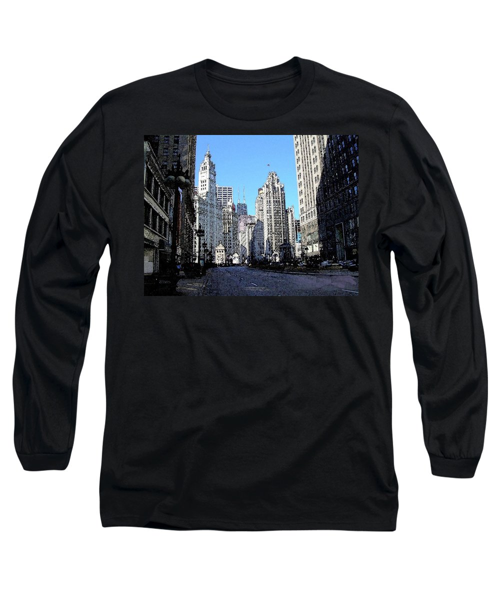 Chicago Long Sleeve T-Shirt featuring the digital art Michigan Ave Wide by Anita Burgermeister