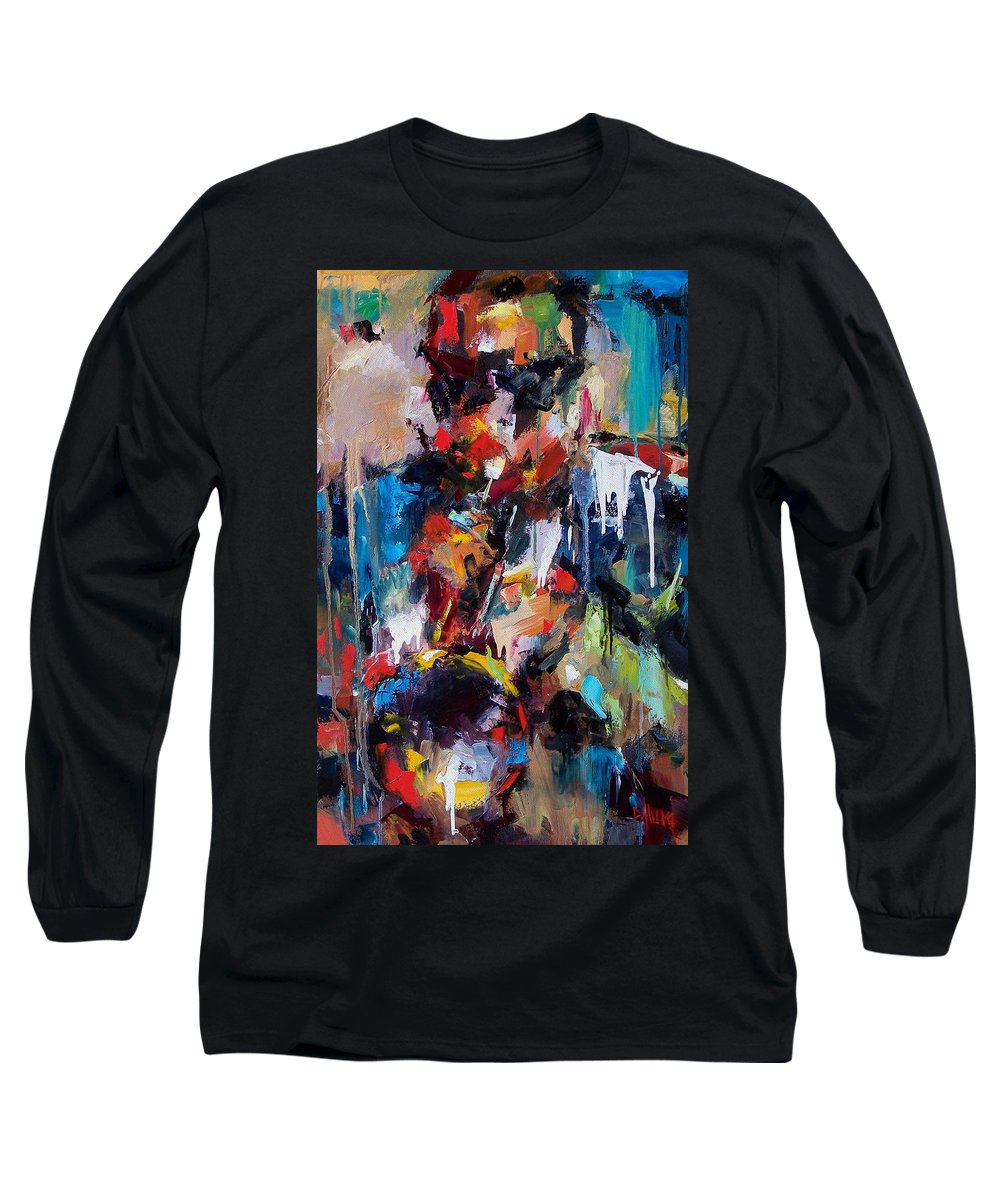 Jazz Art Long Sleeve T-Shirt featuring the painting Miles Davis 2 by Debra Hurd