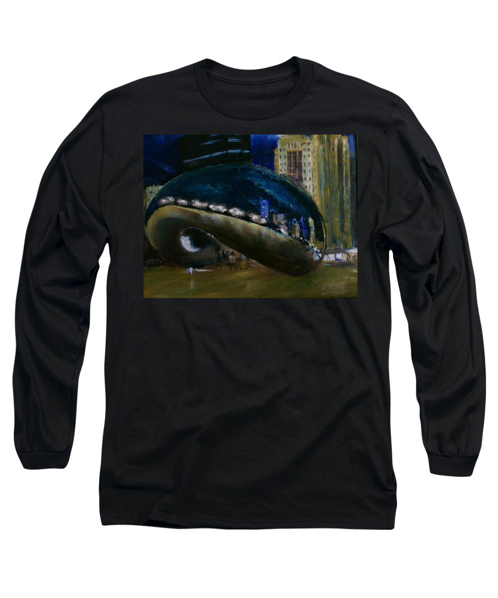 Cityscape Long Sleeve T-Shirt featuring the painting Millennium Park - Chicago by Stephen King