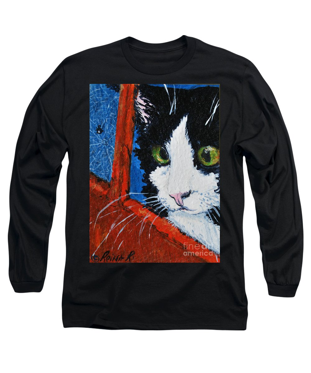 Cat Long Sleeve T-Shirt featuring the painting Molly by Reina Resto