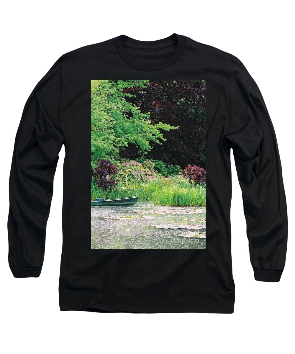 Monet Long Sleeve T-Shirt featuring the photograph Monet's Garden Pond And Boat by Nadine Rippelmeyer