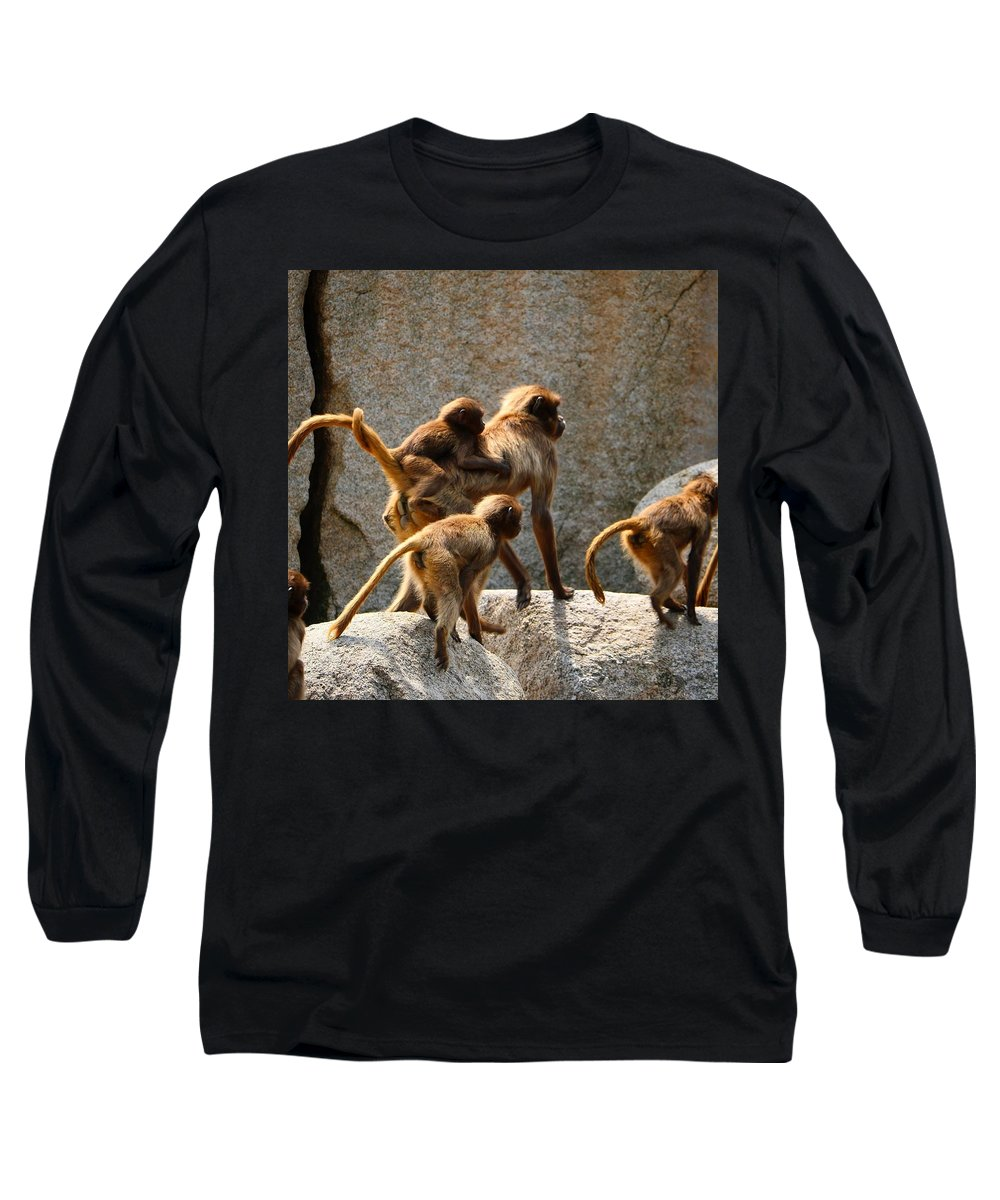 Animal Long Sleeve T-Shirt featuring the photograph Monkey Family by Dennis Maier