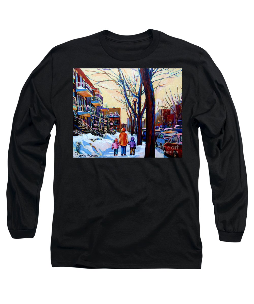 Montreal Long Sleeve T-Shirt featuring the painting Montreal Winter by Carole Spandau
