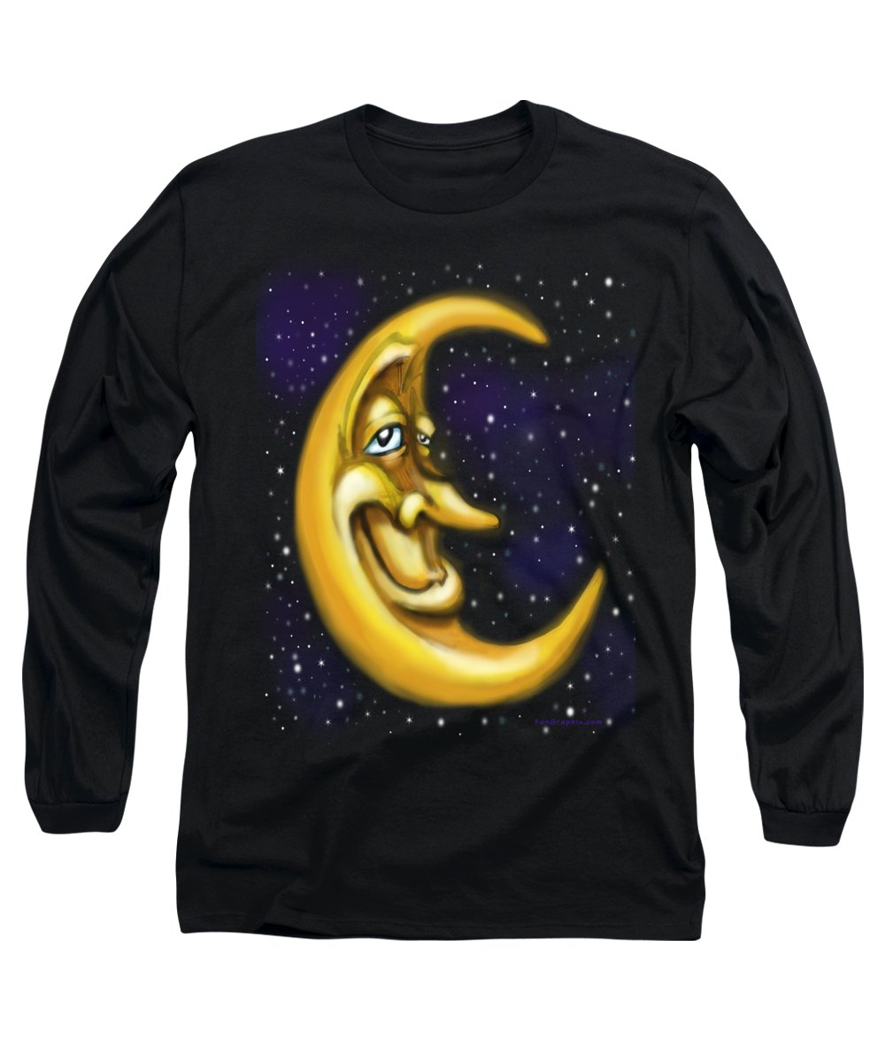 Moon Long Sleeve T-Shirt featuring the painting Moon by Kevin Middleton