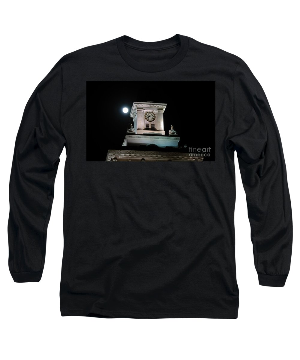 Full Moon Long Sleeve T-Shirt featuring the photograph Moon Over City Hall by David Lee Thompson
