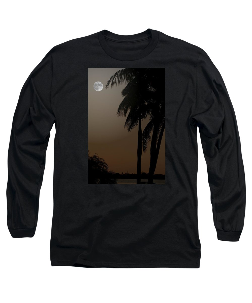 Moonlight Long Sleeve T-Shirt featuring the photograph Moonlight And Palms by Diane Merkle