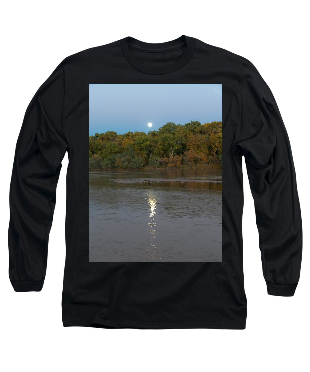 Moonlight Long Sleeve T-Shirt featuring the photograph Moonlight On The Rio Grande by Tim McCarthy
