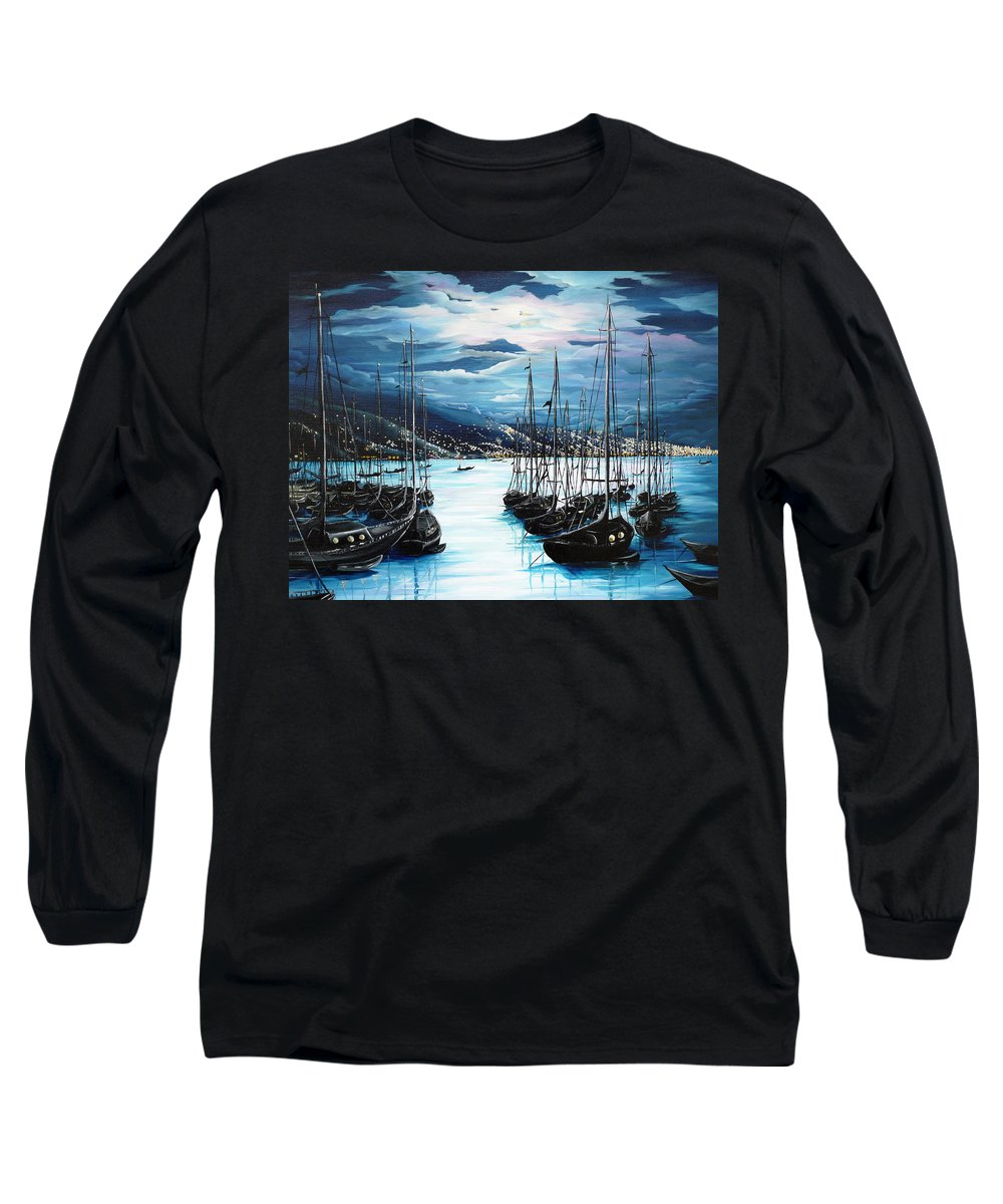 Ocean Painting  Caribbean Seascape Painting Moonlight Painting Yachts Painting Marina Moonlight Port Of Spain Trinidad And Tobago Painting Greeting Card Painting Long Sleeve T-Shirt featuring the painting Moonlight Over Port Of Spain by Karin Dawn Kelshall- Best