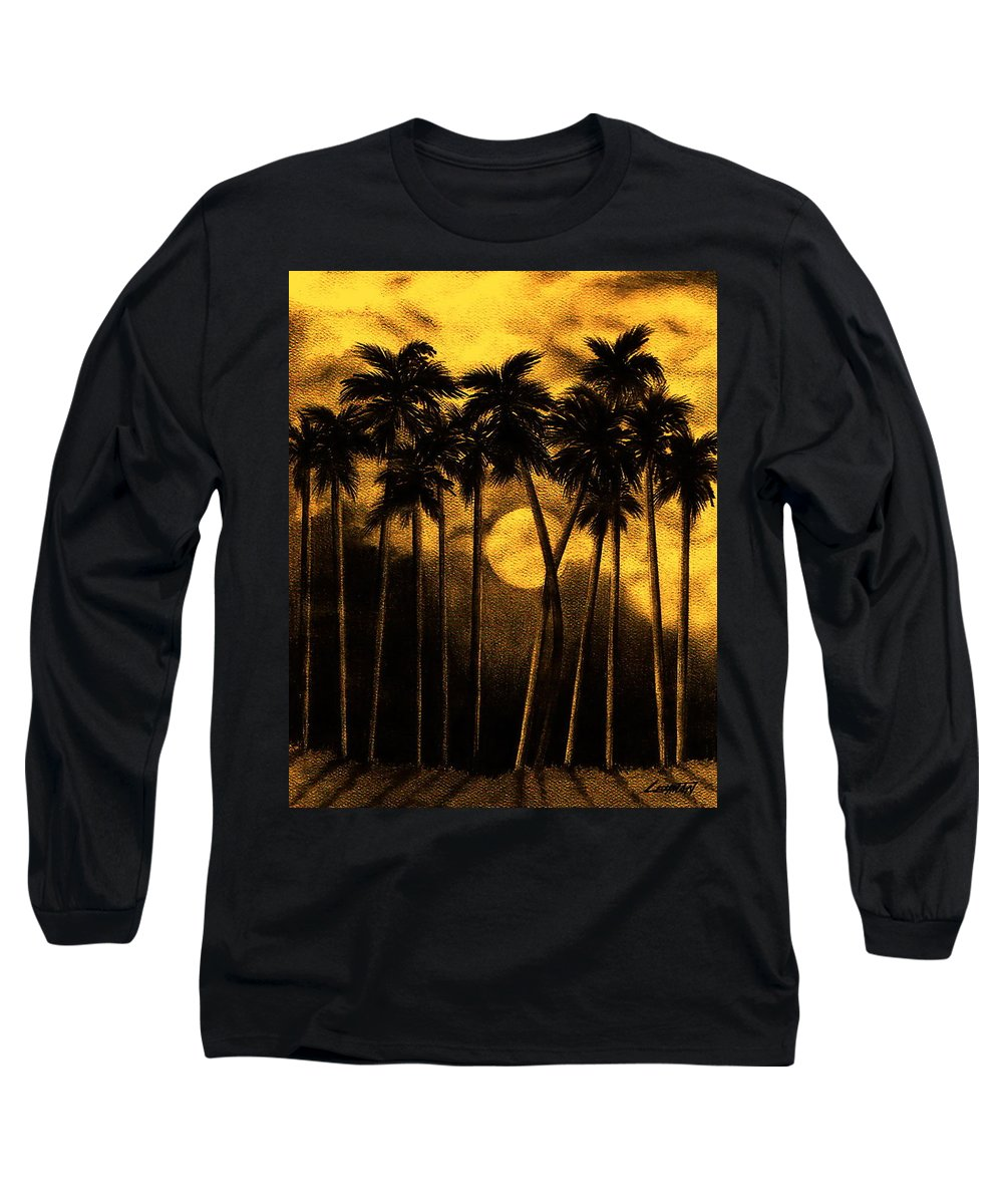 Moonlit Palm Trees In Yellow Long Sleeve T-Shirt featuring the mixed media Moonlit Palm Trees In Yellow by Larry Lehman