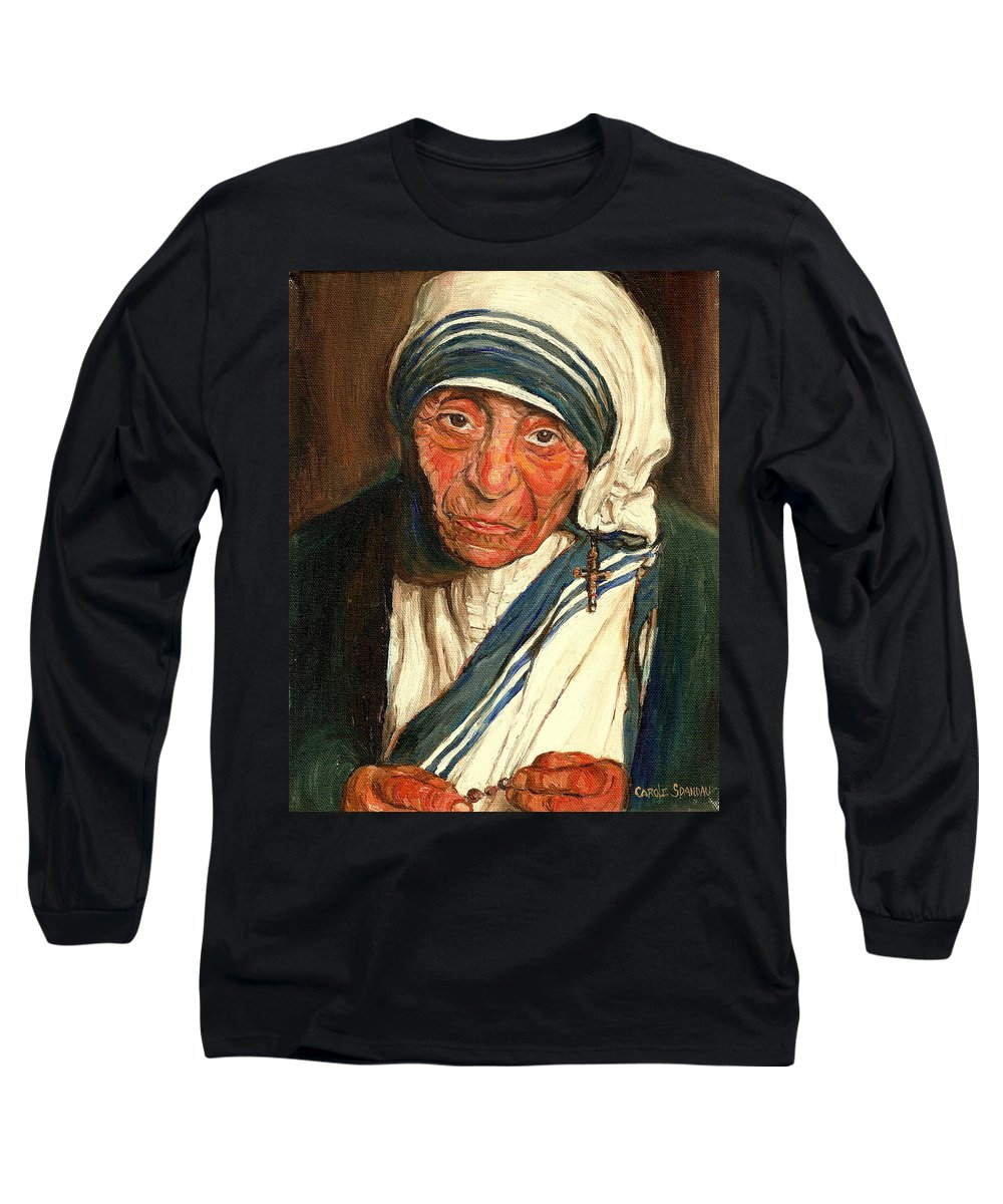 Mother Teresa Long Sleeve T-Shirt featuring the painting Mother Teresa by Carole Spandau