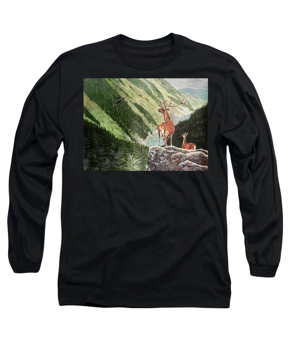 Deer Long Sleeve T-Shirt featuring the painting Mountain Morning by Arie Van der Wijst