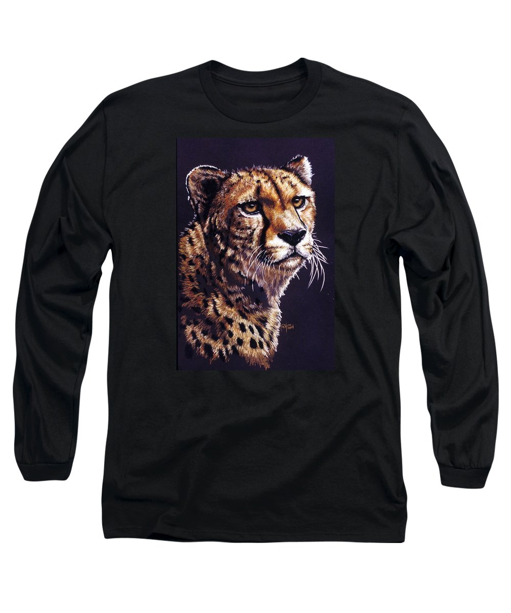 Cheetah Long Sleeve T-Shirt featuring the drawing Movin On by Barbara Keith