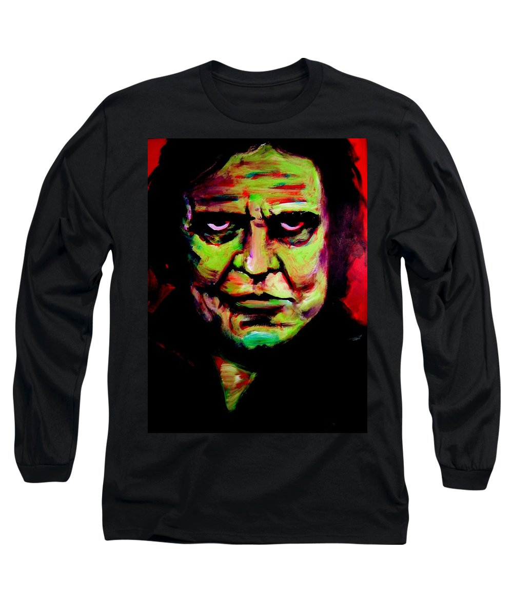 Portrait Long Sleeve T-Shirt featuring the painting Mr. Cash by Jason Reinhardt