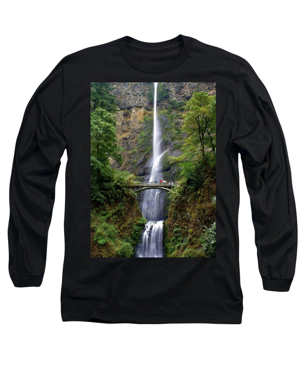 Waterfalls Long Sleeve T-Shirt featuring the photograph Multanomah Falls by Marty Koch