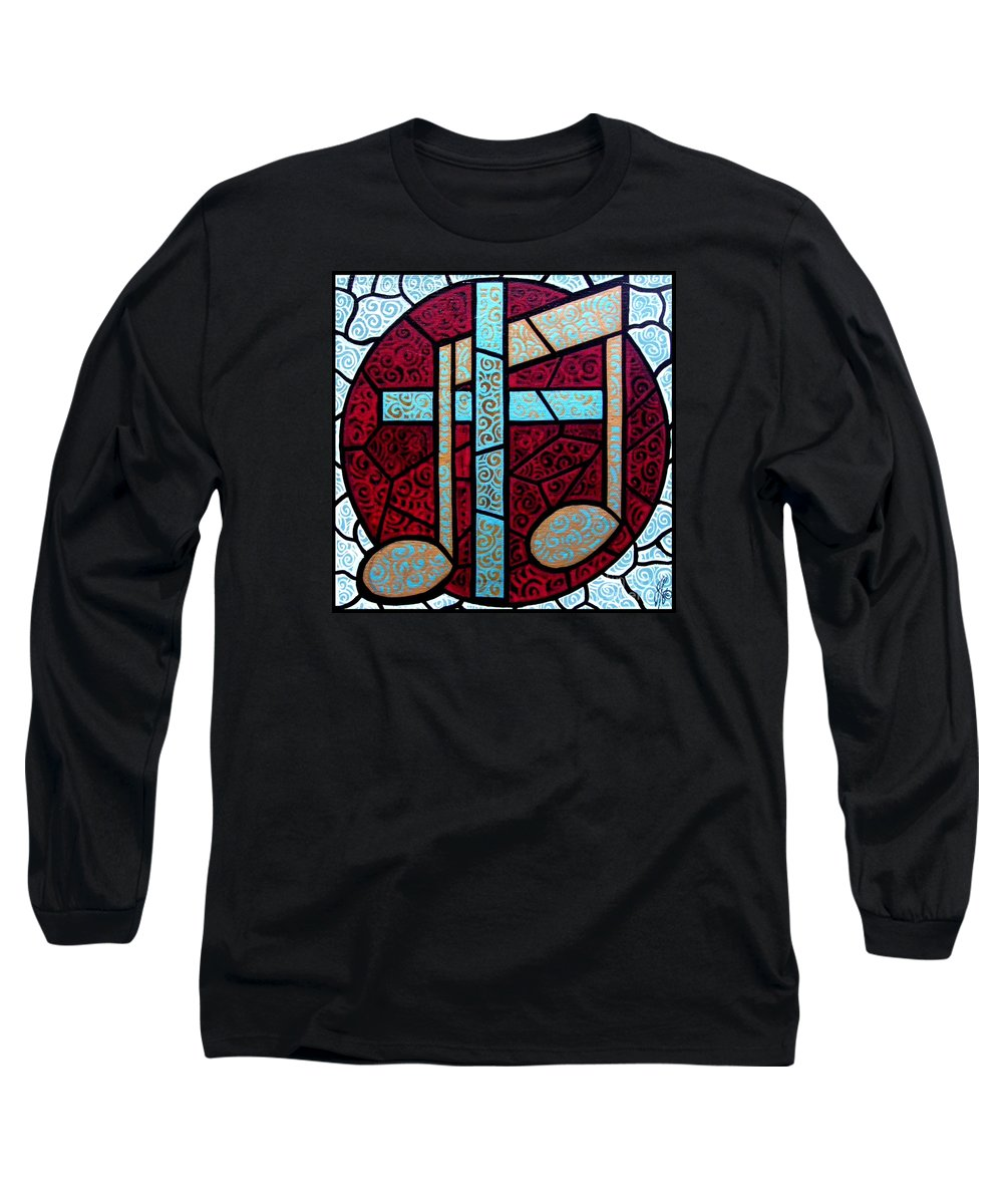 Cross Long Sleeve T-Shirt featuring the painting Music Of The Cross by Jim Harris