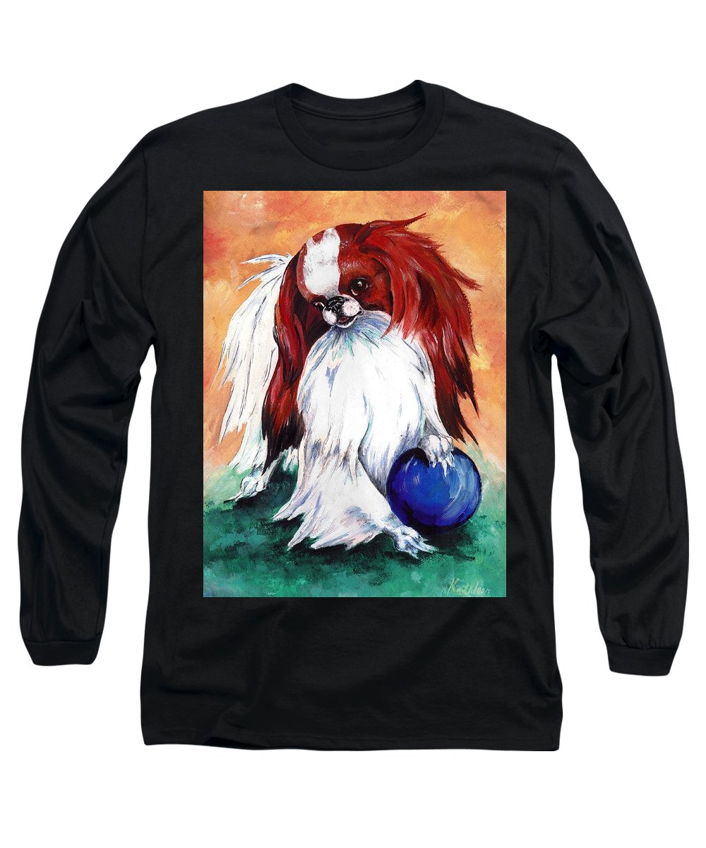 Japanese Chin Long Sleeve T-Shirt featuring the painting My Ball by Kathleen Sepulveda