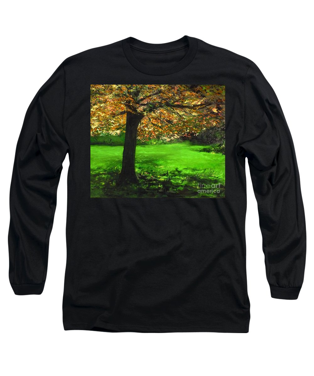 Spiritualism Long Sleeve T-Shirt featuring the painting My Love Of Trees I by Lizzy Forrester