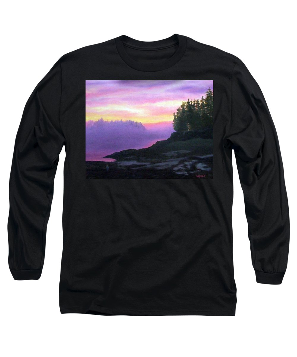 Sunset Long Sleeve T-Shirt featuring the painting Mystical Sunset by Sharon E Allen