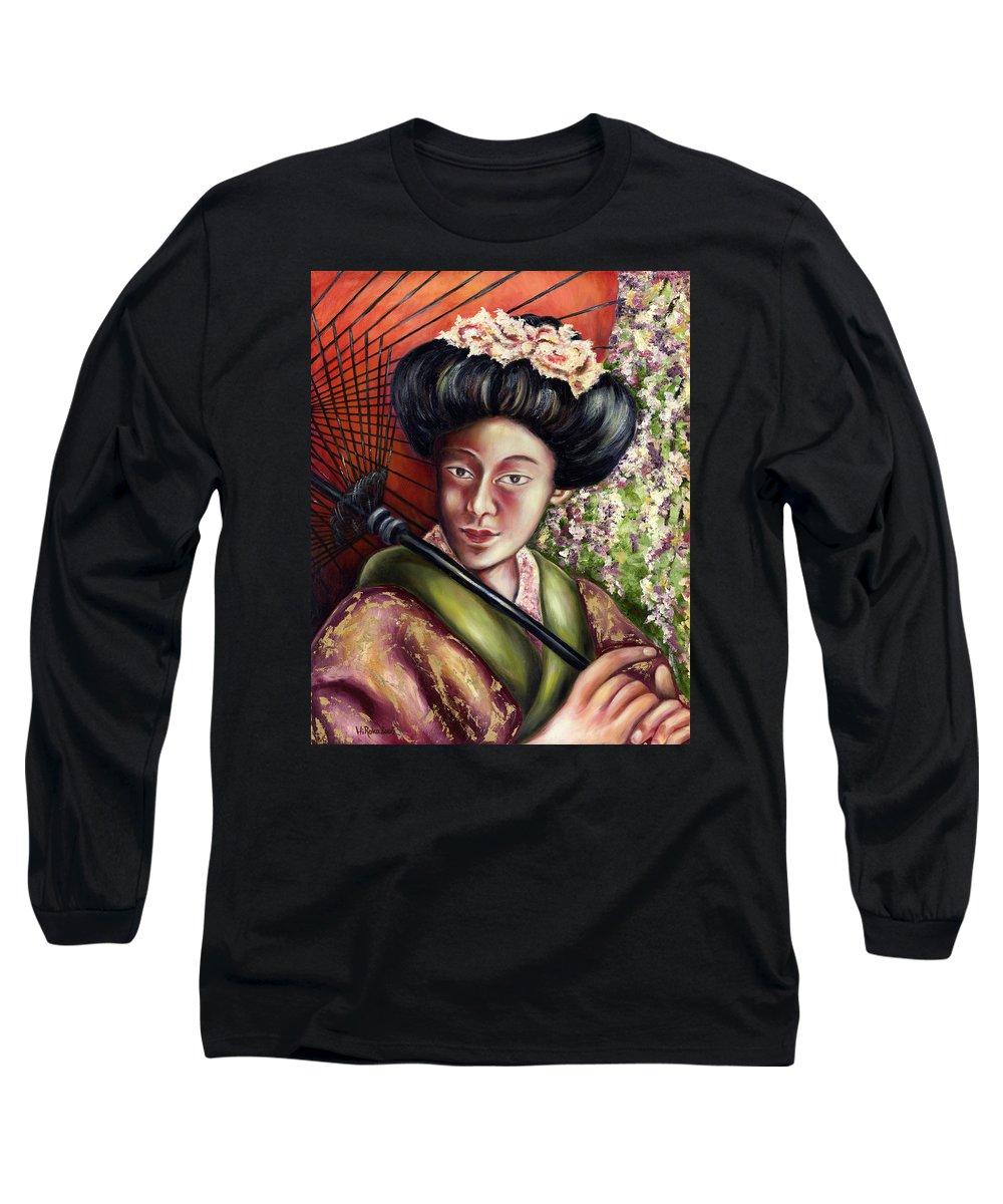 Japanese Long Sleeve T-Shirt featuring the painting Nadeshiko by Hiroko Sakai