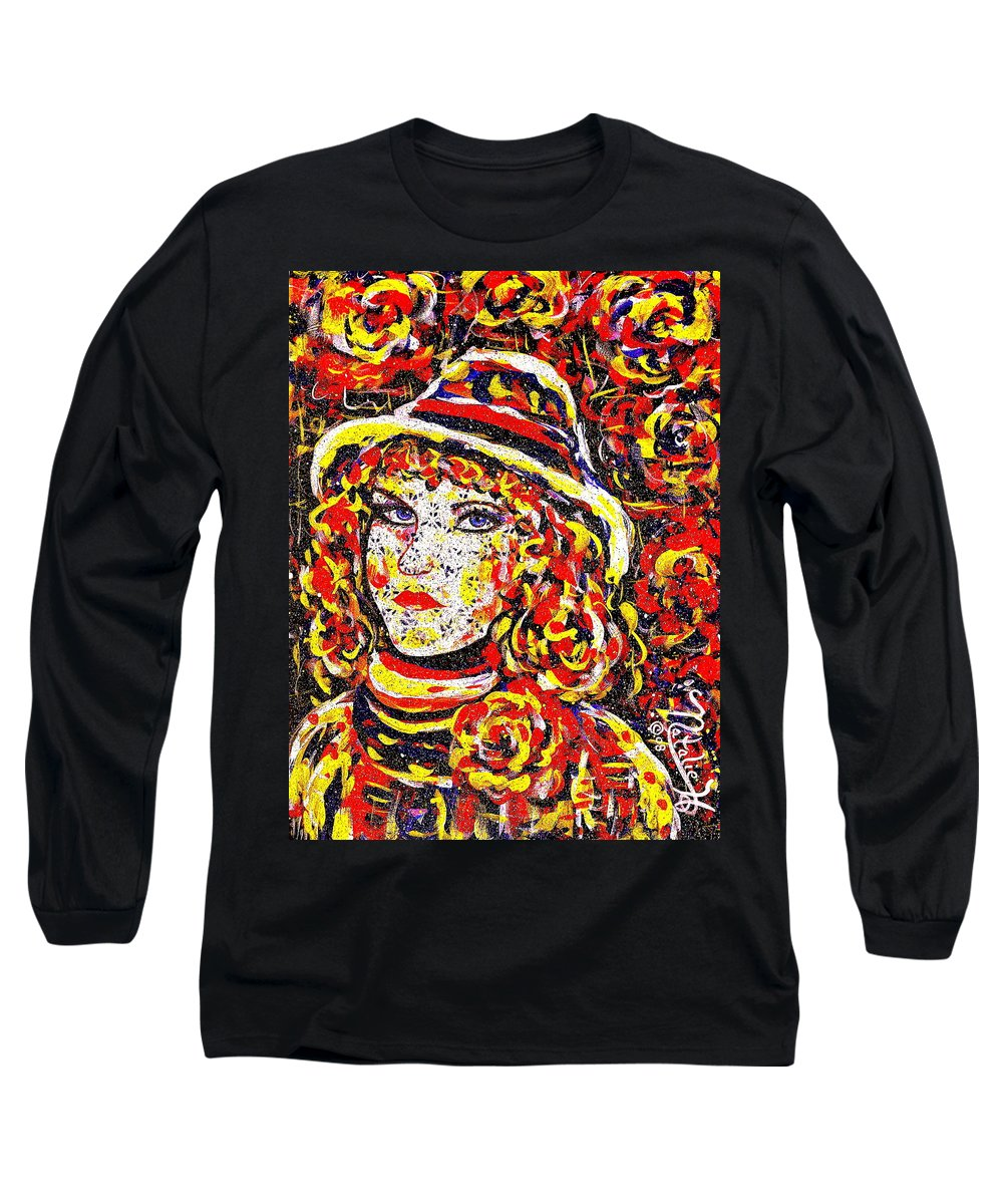 Woman Long Sleeve T-Shirt featuring the painting Nat With The Hat by Natalie Holland