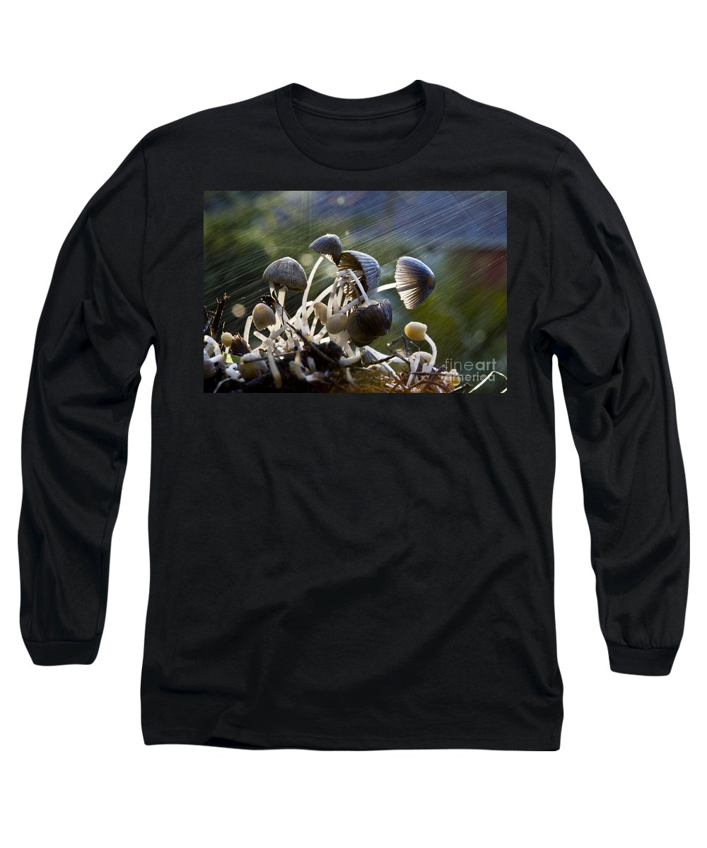Mushrooms Rain Showers Umbrellas Nature Fungi Long Sleeve T-Shirt featuring the photograph Nature by Sheila Smart Fine Art Photography