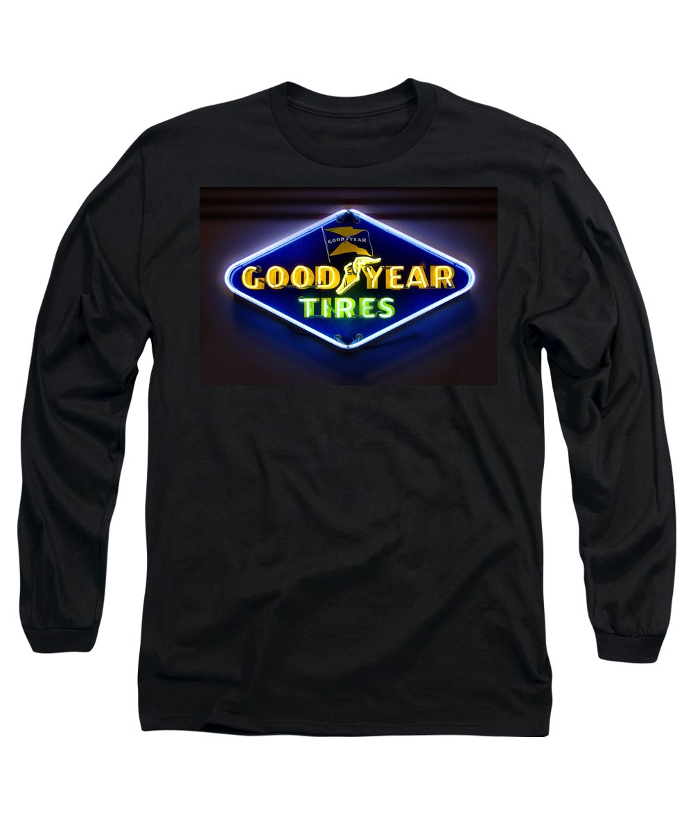 Transportation Long Sleeve T-Shirt featuring the photograph Neon Goodyear Tires Sign by Mike McGlothlen