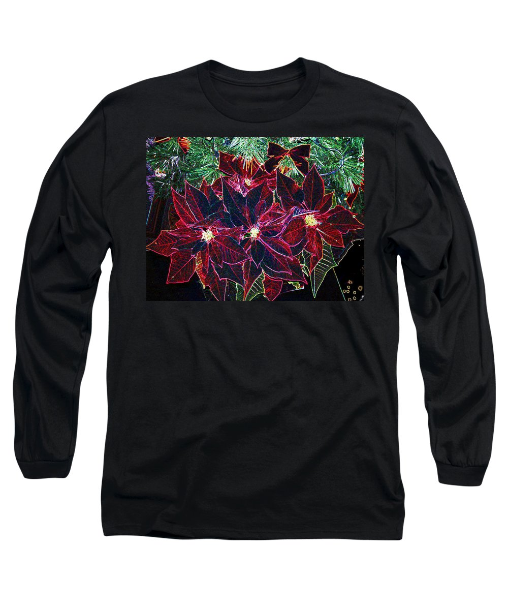 Flowers Long Sleeve T-Shirt featuring the photograph Neon Poinsettias by Nancy Mueller