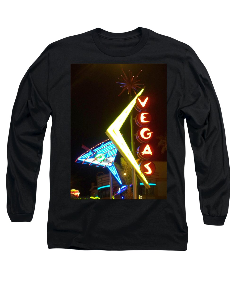 Fremont East Long Sleeve T-Shirt featuring the photograph Neon Signs 3 by Anita Burgermeister