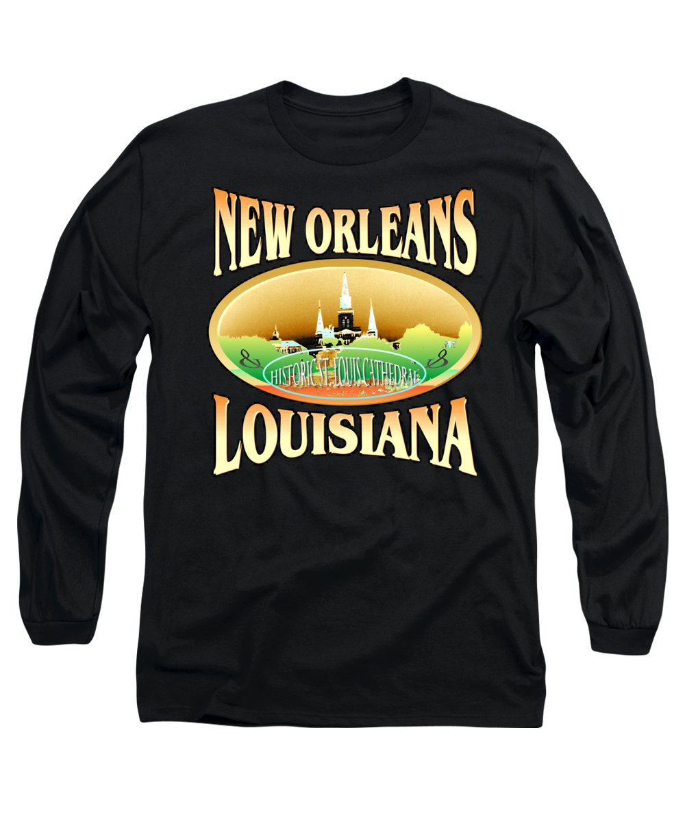 New+orleans Long Sleeve T-Shirt featuring the tapestry - textile New Orleans Louisiana Design by Peter Potter