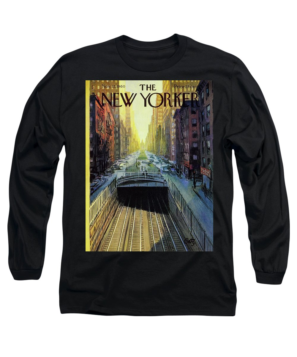 Illustration Long Sleeve T-Shirt featuring the painting New Yorker November 12 1960 by Arthur Getz