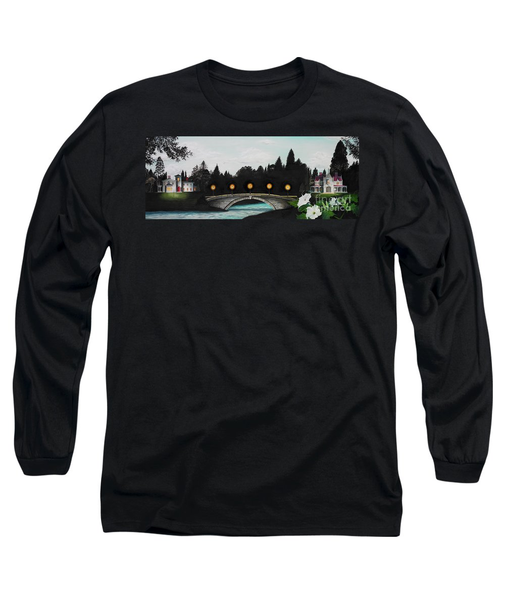 Architecture Long Sleeve T-Shirt featuring the painting Night Bridge by Melissa A Benson