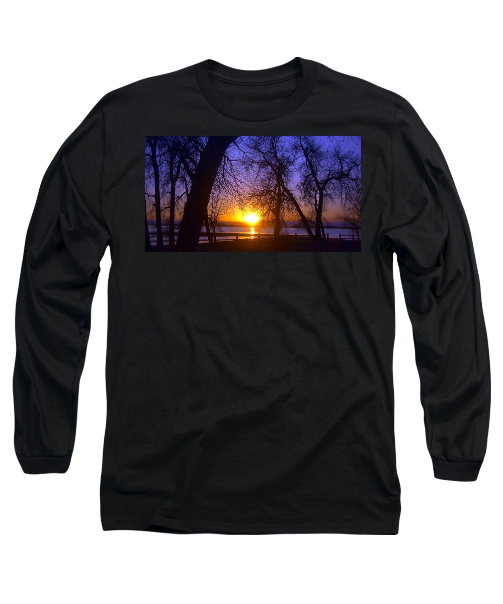 Barr Lake Long Sleeve T-Shirt featuring the photograph Night In Barr Lake Colorado by Merja Waters