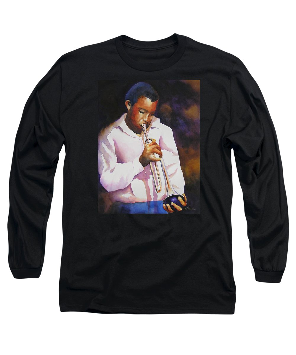 Trumpet Long Sleeve T-Shirt featuring the painting Night Music by Karen Stark