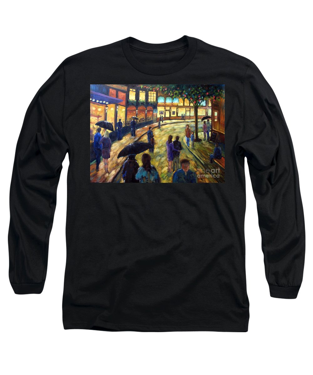 Cityscape Long Sleeve T-Shirt featuring the painting Night On The Town by Richard T Pranke
